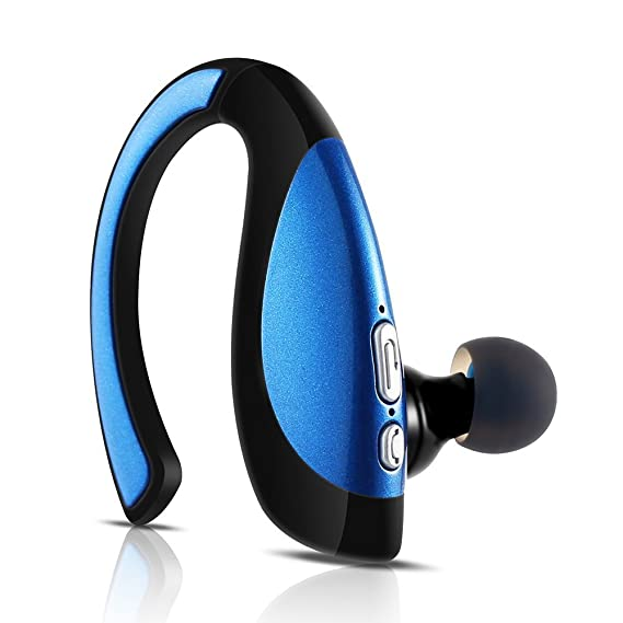 Ugetde Bluetooth Headset, Wireless Bluetooth Headphone Earbuds, Sweatproof  Voice Command Headset for iPhone 6s, Samsung, HTC etc (Blue)
