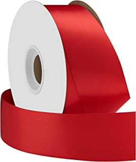 product image for Offray Single Face Satin Craft 1-1/2-Inch by 50-Yard Ribbon Spool, Red