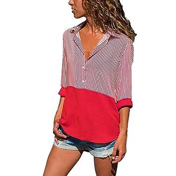 fd0c5c4b93b92 Roysberry Womens tops - Fashion Stitching Striped Shirt Long Sleeve High  Neckline Blouse Tops Plus-