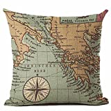 Pgojuni Map of The World Print Pillow Cases Linen Cotton Sofa Cushion Cover Home Decor for Sofa/Couch 1pc 45X45 cm (I)