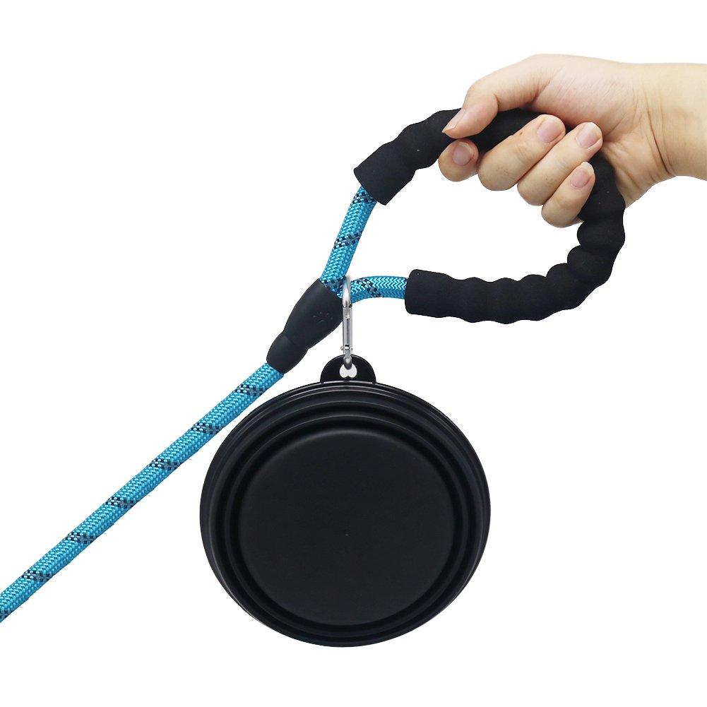 sin BPA de Silicona de Grado alimenticio Plegable para Comida y Agua Negro + Azul Vivifying Cuenco Grande Plegable para Perro