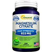 Pure Magnesium Citrate 833mg Supplement - 200 Capsules - Max Strength Mag Citrate Powder Pills to