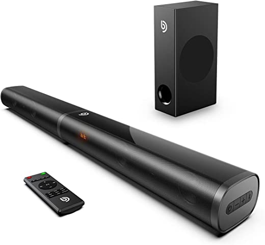 Soundbar con subwoofer, BOMAKER 2.1 Canali, 190W/120dB, Audio Surround Superiore per 4K HD TV, 6 EQ con modalità con Bassi Regolabili, Bluetooth 5.0, HDMI ARC, Ottico, AUX, USB, Tapio Ⅲ