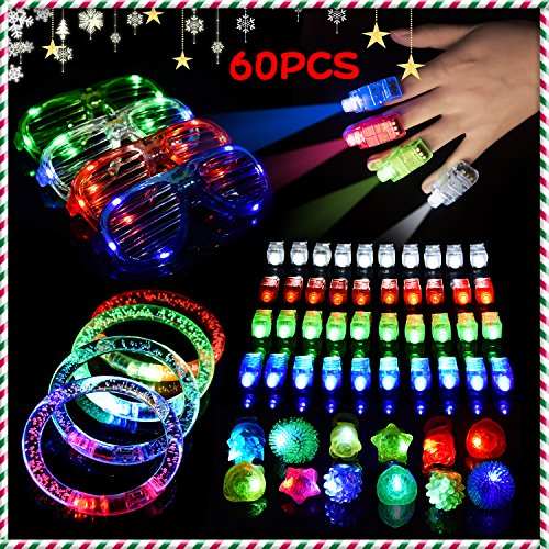 LED Light Up Toys Christmas Flashing Party Favors Supplies Beam Finger Light, Glow-in-the-dark Glasses, Bumpy Rings, Children's Theme Disco Dancing Set for Birthday, Festival, Carnival 60 pcs (Fun Graduation Party Games)