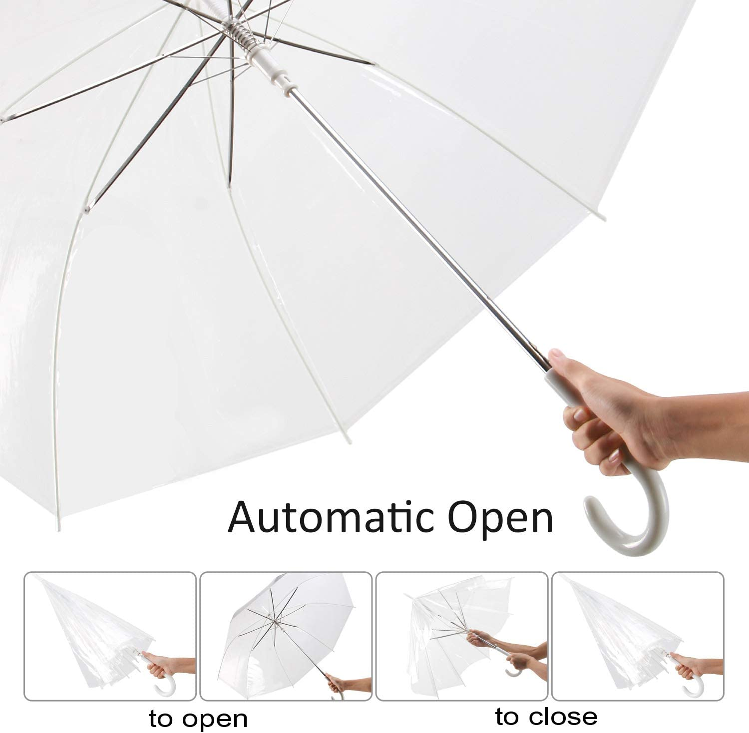 WATINC 18 Pack 46 Inch Clear Bubble Umbrella Large Canopy Transparent Stick Umbrellas Auto Open Windproof with Black European J Hook Handle Outdoor Wedding Style Umbrella for Adult