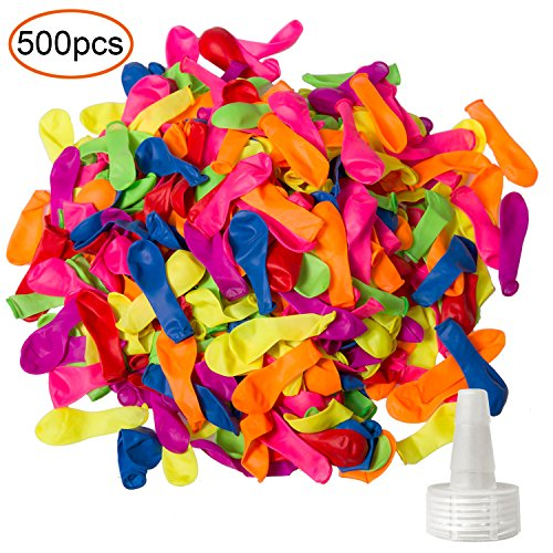 YHMALL 500 Pack Water Balloons with Refill Kits, Colorful Latex Water Bomb Balloons Fight Games - Summer Water Party Pool and Splash Fun for Kids & Adults