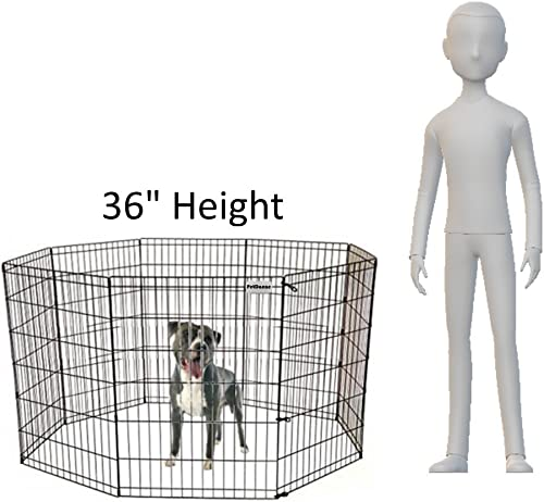 PetDanze Dog Puppy Playpen Pen 36 Height Indoor Outdoor Exercise Outside Play Yard Pet Small Animal Puppies Portable Foldable Fence Enclosures 8 Panel Metal Wire, Black