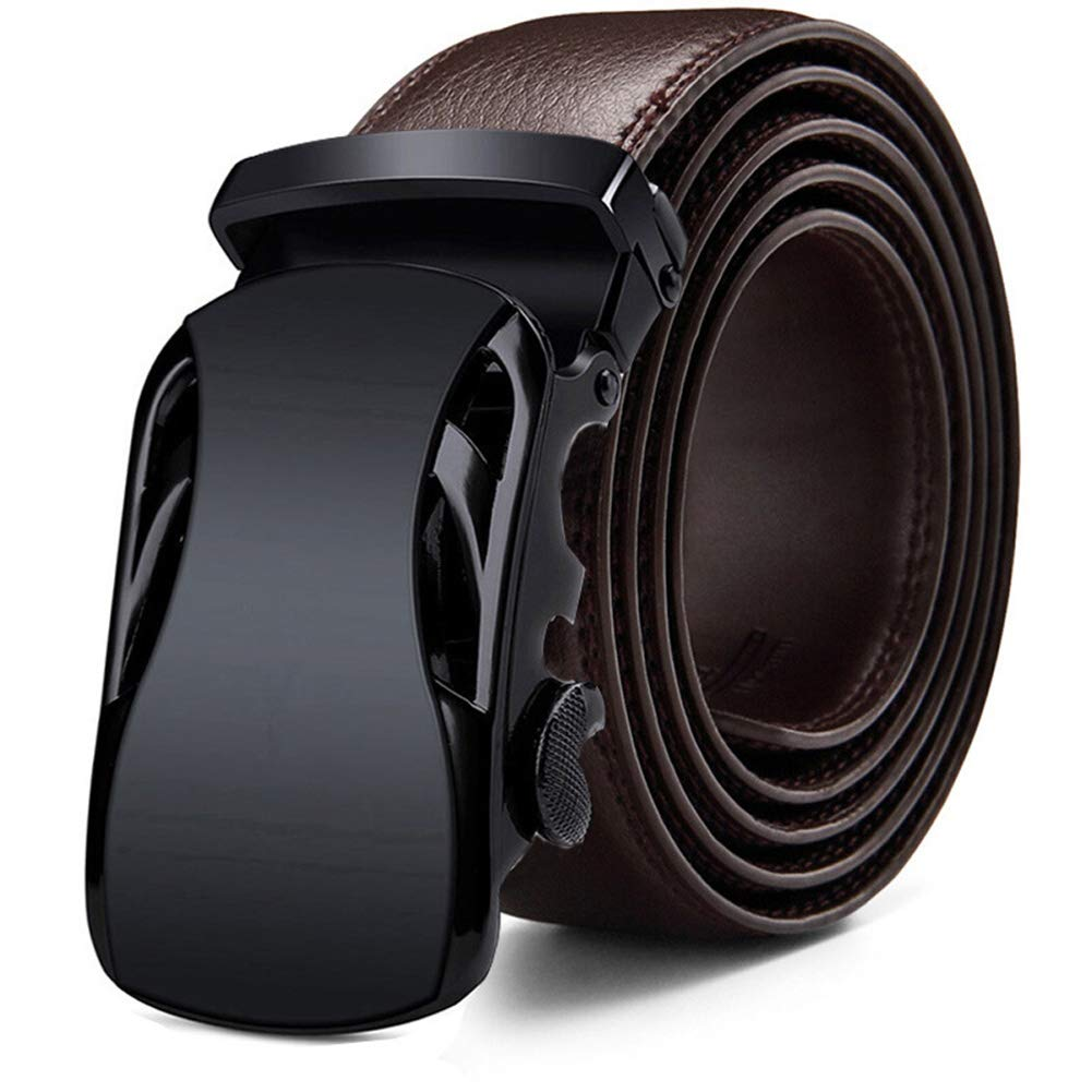 NOMSOCR Mens Real Leather Ratchet Dress Belt with Automatic Buckle for Business and Casual