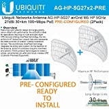 Ubiquiti 2-PACK airGrid M5 HP 27dBi AG-HP-5G27 PRE-CONF 5GHz 30+km 100+Mbps PoE