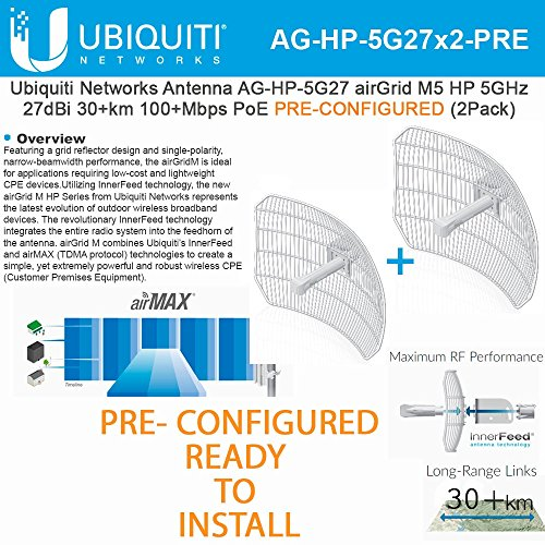 Ubiquiti 2-PACK airGrid M5 HP 27dBi AG-HP-5G27 PRE-CONF 5GHz 30+km 100+Mbps PoE by Ubiquiti Networks