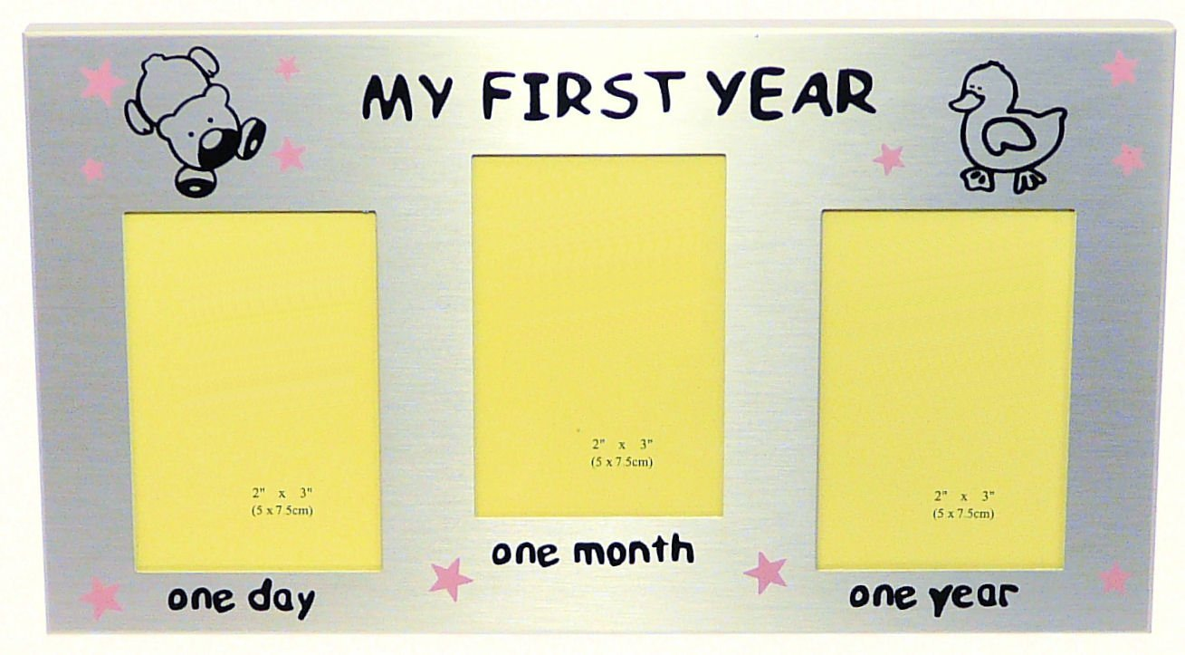 Amazon.com : My First Year Photo Frame (Pink Stars) - Baby Girl\'s ...