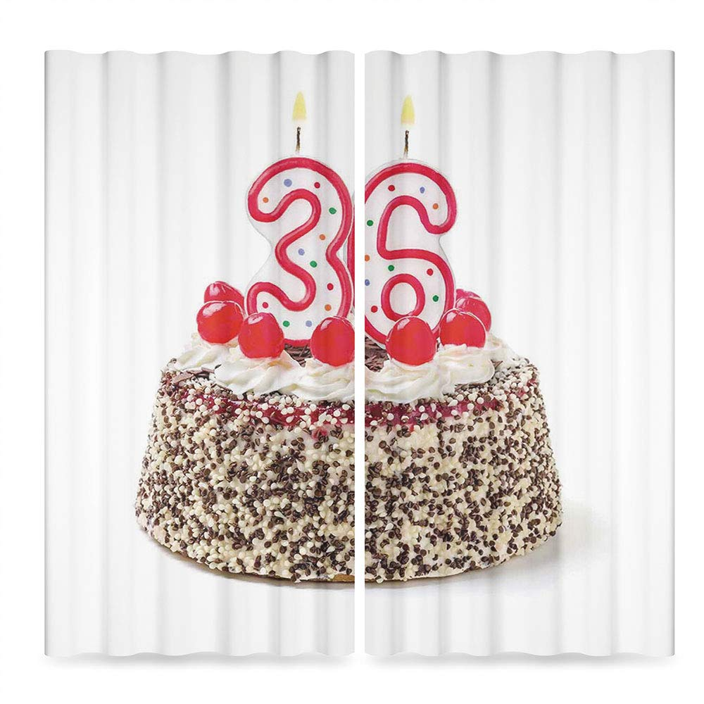 36th Birthday Decorations Window Blackout Curtains,Happy Birthday Party Theme Cake with Candles and Sprinkles Print,for Bedroom Living Dining Room Kids Youth Room, 2 Panel Set, 28W X 39L Inches