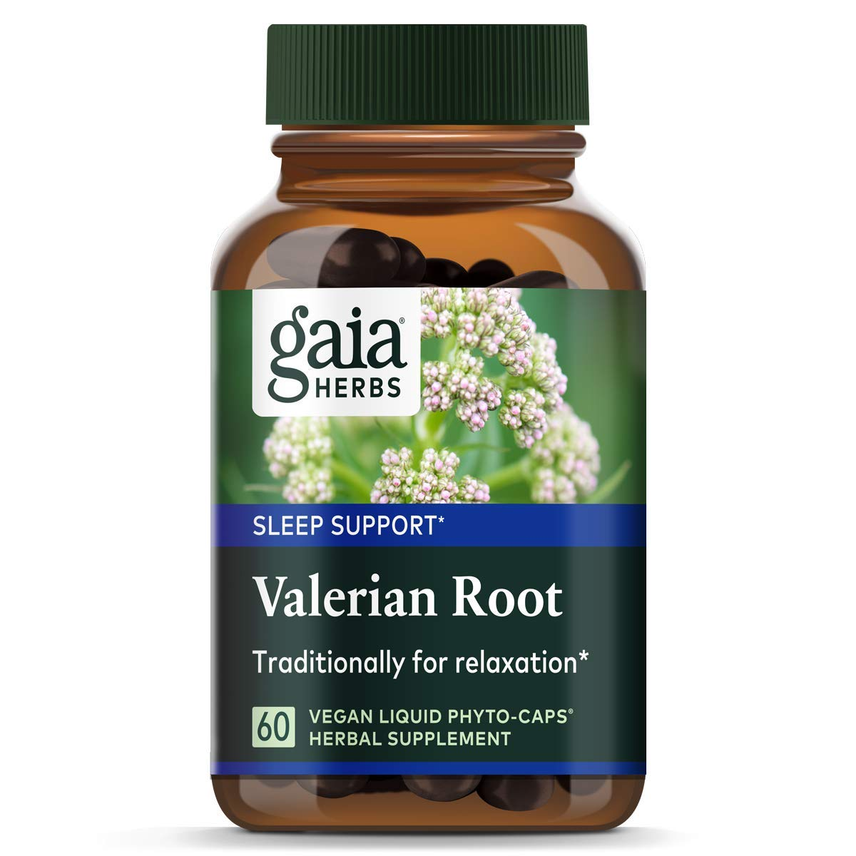 Gaia Herbs Valerian Root, Vegan Liquid Capsules, 60 Count - Relaxing Natural Sleep Aid with No Melatonin, Non-Habit Forming