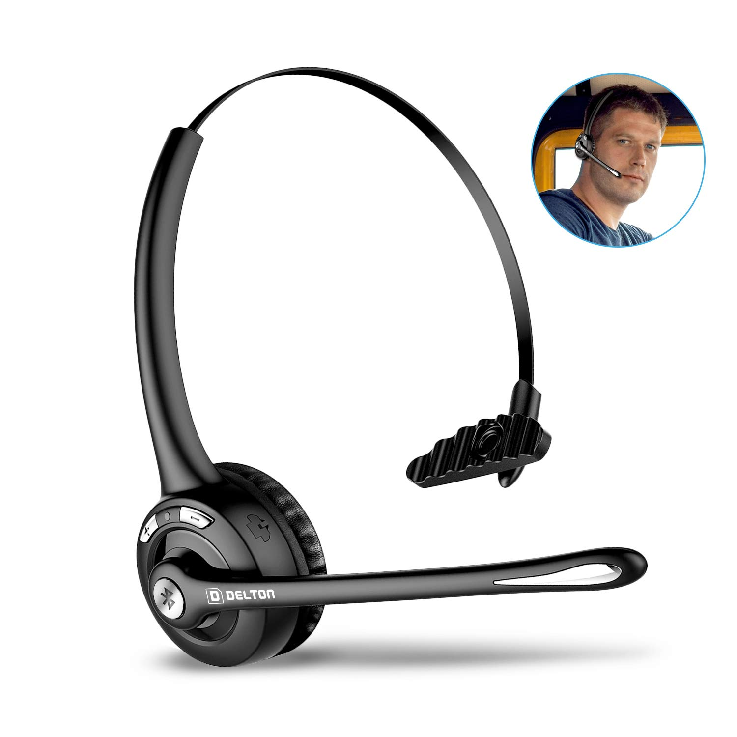 Delton Trucker Bluetooth Headset, Wireless Headphones w/Microphone, Noise Cancelling Headphones for Truck Driver, Wireless Over the Head Earpiece with Mic for Skype, Call Centers - 18Hrs Talking Time