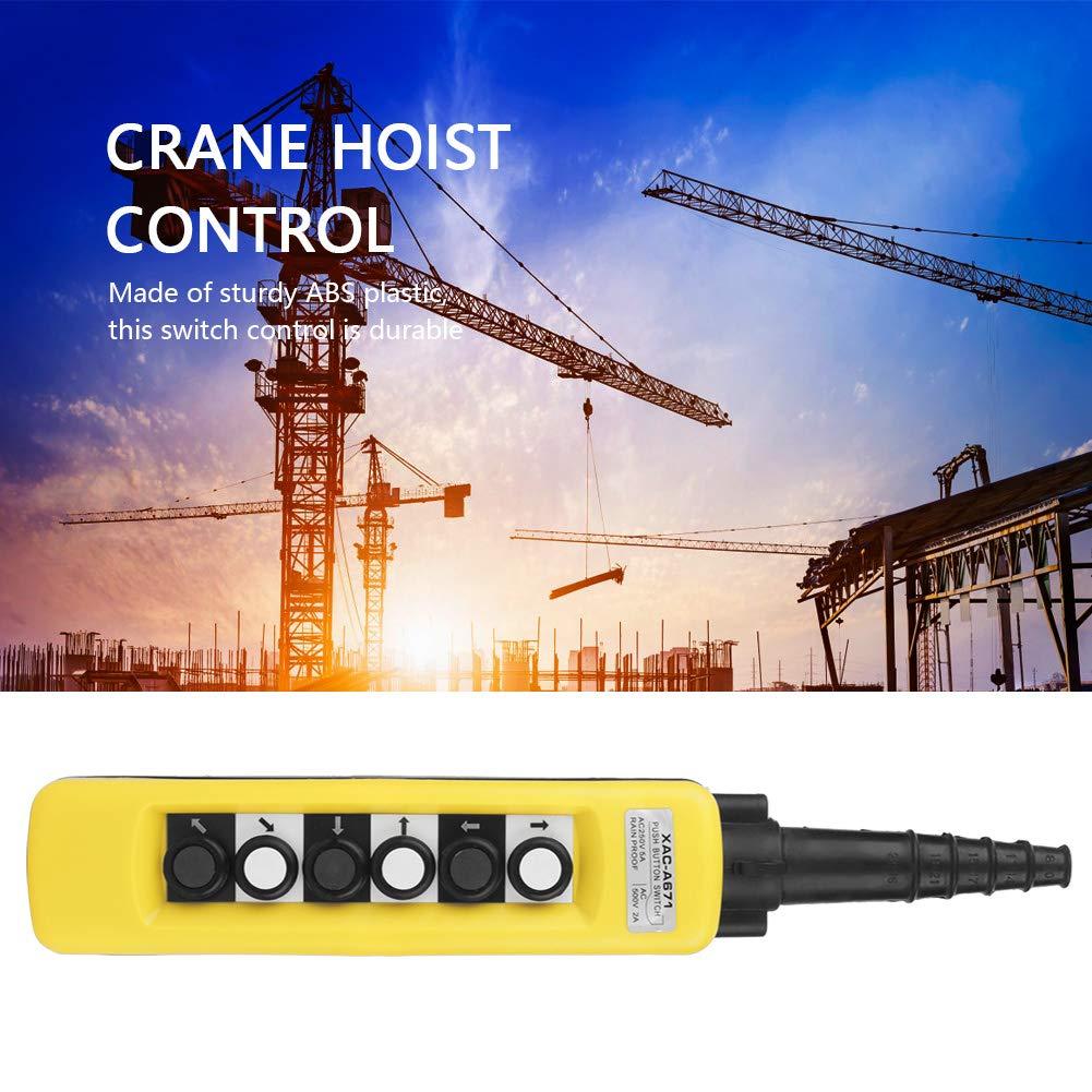 Pupilash Crane Hoist Control-Hoist Switch Control Crane Chain Hoist Push Button Switch Lifting Pendant Controller 6 Buttons