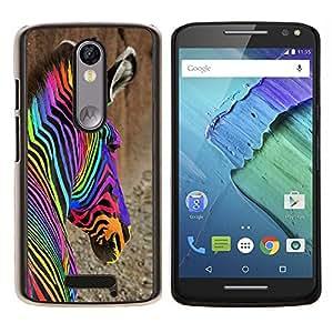 Caucho caso de Shell duro de la cubierta de accesorios de protección BY RAYDREAMMM - Motorola MOTO X3 3rd - coloridos drogas cebra abstractos iridiscentes