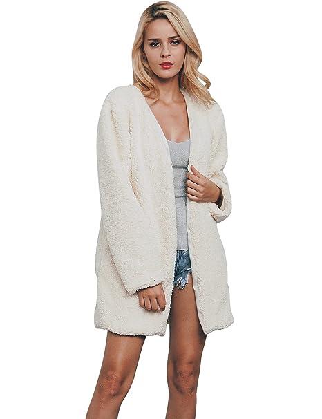 VLUNT Mujer Abrigos de pieles Chaqueta Invierno Abrigo Largo Tops Pelo Sintética de Fox Chaqueta Fur