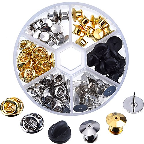 eBoot 65 Pieces 3 Styles Clutch Pin Backs with 20 Pieces Tie Tacks Blank - Lapel Hat Pin Tie