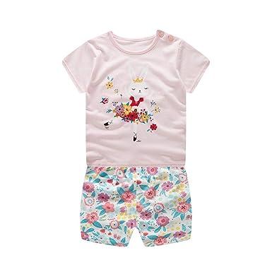 1a7c7d7a7c005 Amazon.com: Lookvv Infant Baby Toddler Girl Summer Clothes Cotton Pajamas  Soft Homewear Rabbit Print: Clothing