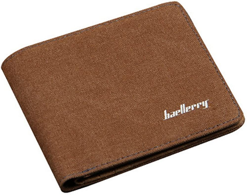 Men Teens Simple Slim Canvas Wallet,3 Cash Compartments include 1 Zipper Pocket