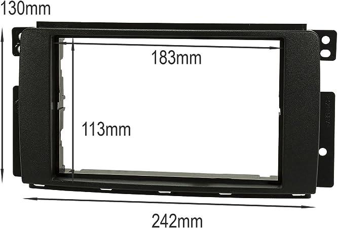 Quadlock tomzz Audio /® 2451-001 colore: nero Mascherina autoradio doppio DIN per Smart Fortwo 451 ForFour 454