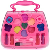 Start_wuvi Princess Girl's Pretend Play Toy Deluxe Non Toxic Makeup Palette Set Training Kids Imagination Eye-hand Coordination And Color Shape Recognition Early Learning Educational Toy