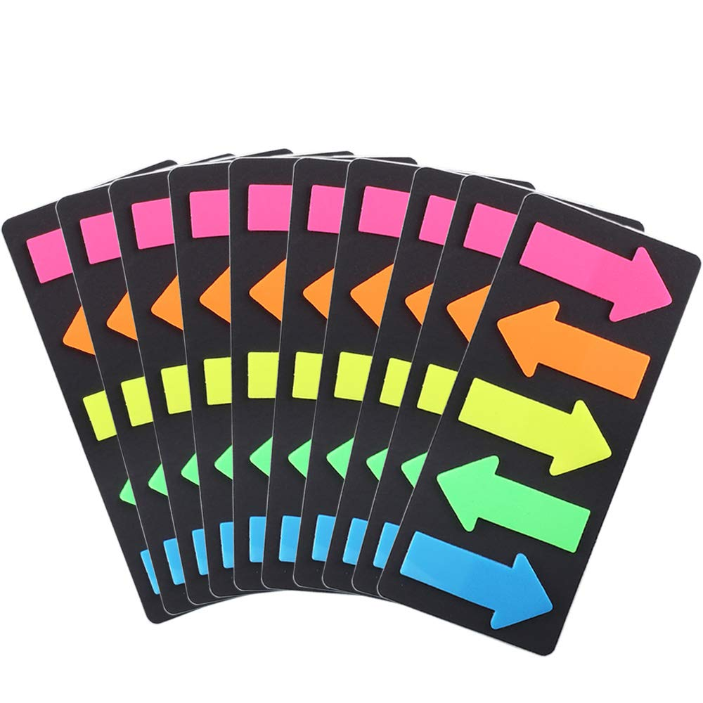 FJSM Sticky Page Makers Arrow 1000pcs 5 Colors Adhesive Sticky Note Fluorescent Neon Sticky Note Bookmarks Index Tabs Flags Reading Highlighter Strips Pages Notebook Cards Mark