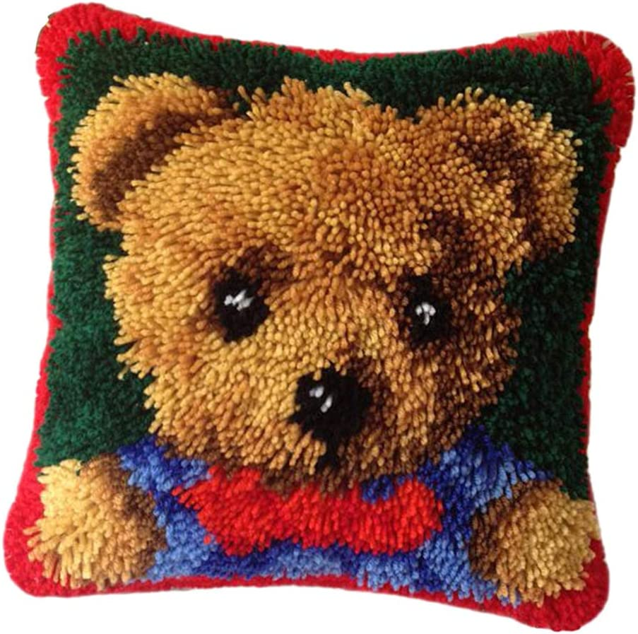 dailymall DIY Cushion Carpet Floor Mat Latch Hook Rug Kits Cover Hand Craft Bear Seat Crocheting Needlework Baby Kids Parents Gift 40x40cm
