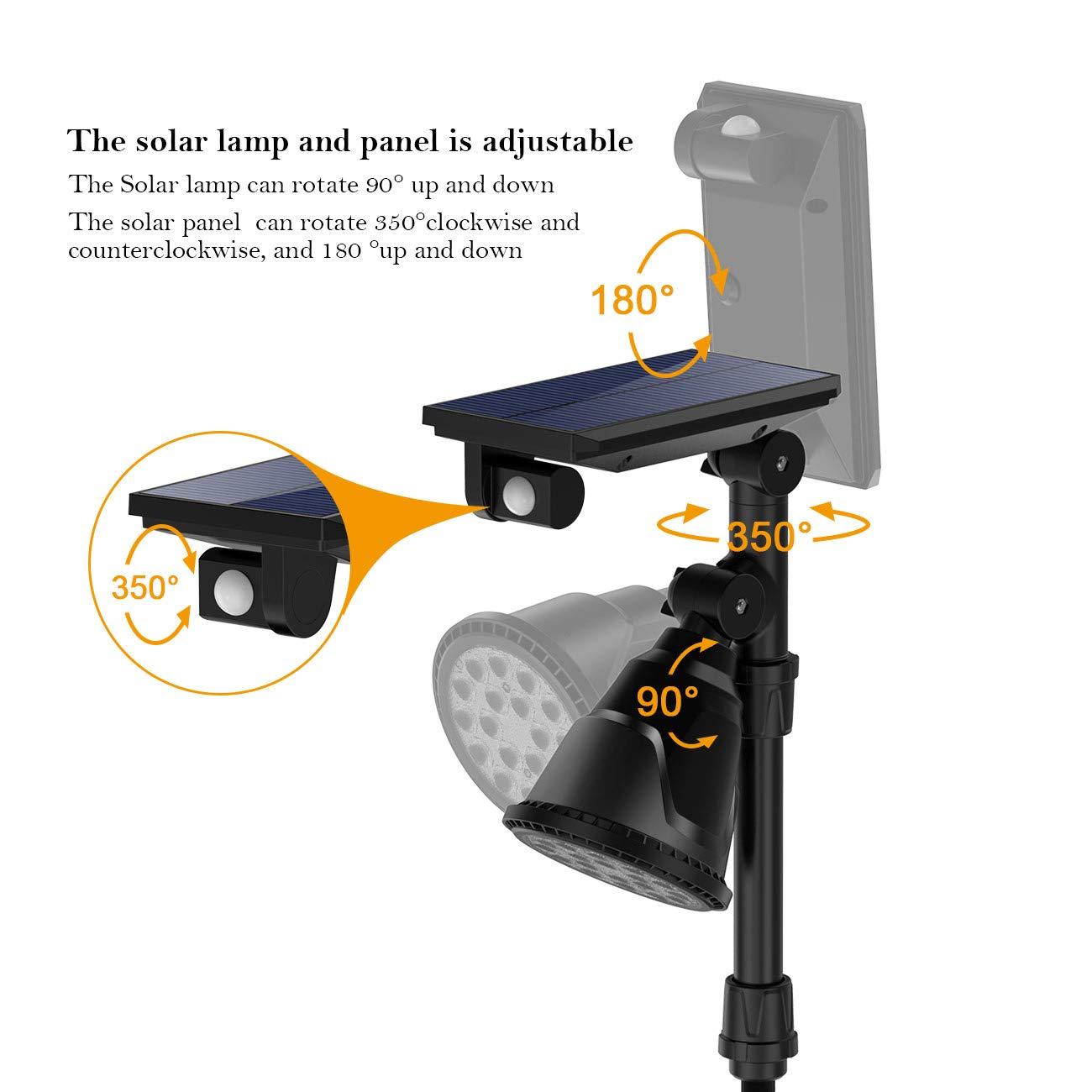 ERAY Luz Solar Exterior, 2 En 1 Foco Solar 18 Leds 600 Lúmenes, 4 Modos Ajustables, IP65 Impermeable, Luz de Seguridad con Sensor de Movimiento para Jardín, ...