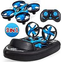 Yard Ferngesteuerte Boote für Kinder / Mini Drohne für Pools und Seen / RC-Car 3 in 1 Seelandluftmodus umschaltbar wasserdichtes Luftkissenfahrzeug-Spielzeug RC Quadcopter