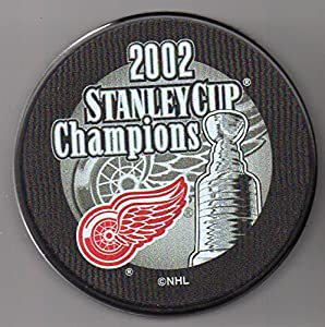 Detroit Red Wings 2002 Stanley Cup Champions Official NHL Puck + FREE Puck Cube