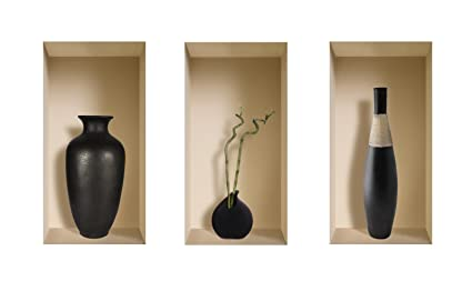 Nisha Unidades 3 Luxor 3D Illusion Pegatinas Decorativas para Pared 22 x 42 cm