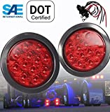 """Pair of Red LED 4"""" Round Stop Turn Tail Emergency Strobe with GROMMET"""