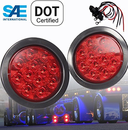 """Pair of Red LED 4"""" Round Stop Turn Tail Emergency Strobe with GROMMET PLUG Truck Trailer Lights"""