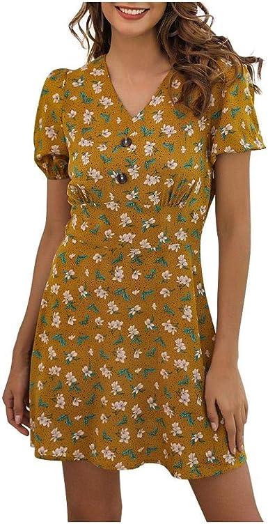 VJGOAL Mujer Vestido Manga Corta Cuello En V Estampado Floral Bohemio Verano Vestido Corto Playa Moda Casual Mini Vestido de Fiesta Sexy: Amazon.es: Ropa y accesorios