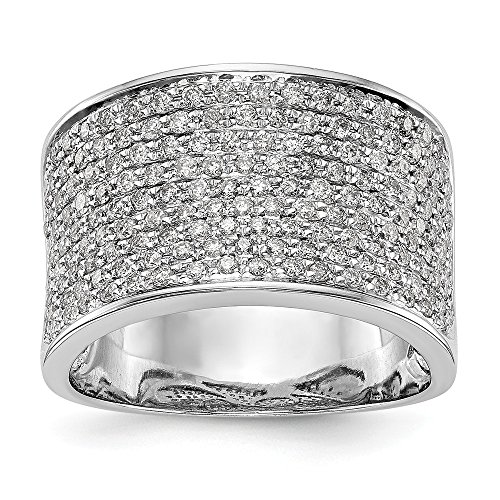 KIOKORI 14K White Gold Ladies Micro Pave Diamond Extra Wide Band 1-Carat tw ~ Ring Size 6 ~ by Roy Rose (Extra Wide Band Ring)