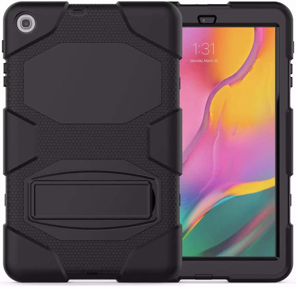 Samsung Galaxy Tab A 10.1 Case 2019, Angelan Heavy Duty Three Layer Ultra Hybrid Silicone+Hard PC Bumper Full-Body Protective Case Cover with Kickstand for Galaxy Tab A 10.1 Inch SM-T510/T515,Black