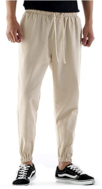f745460aca TBMPOY Men's Linen Drawstring Big and Tall Beach Pants for Spring&Summer(3  Beige, us M) at Amazon Men's Clothing store: