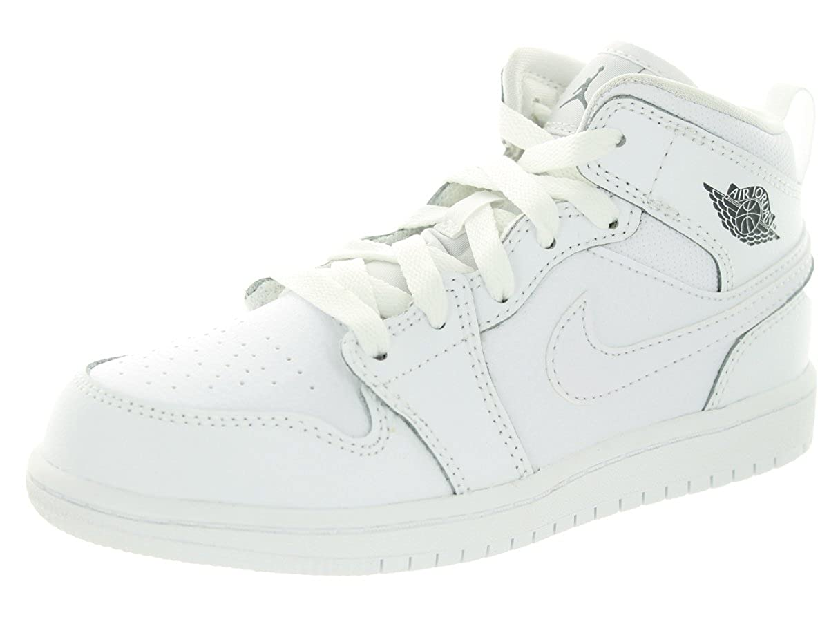 aacc64e969 Amazon.com | Jordan Nike Kids 1 Mid BP White/Cool Grey/White Basketball  Shoe 13 Kids US | Basketball