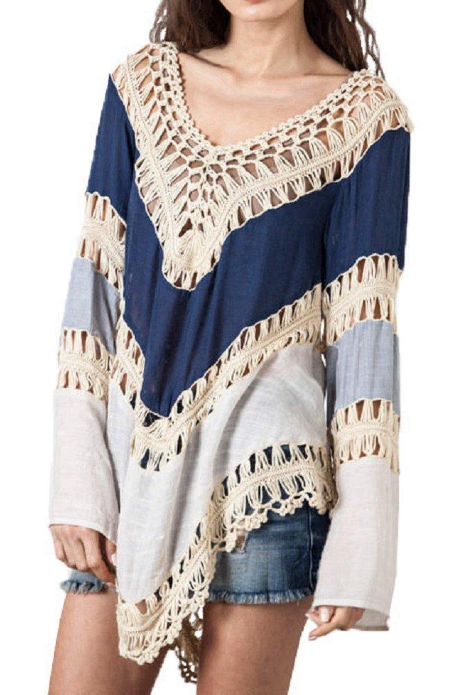 iNewbetter Womens V-Neck Knit Splice Irregular Hem Shirt Blouse Tops Blue