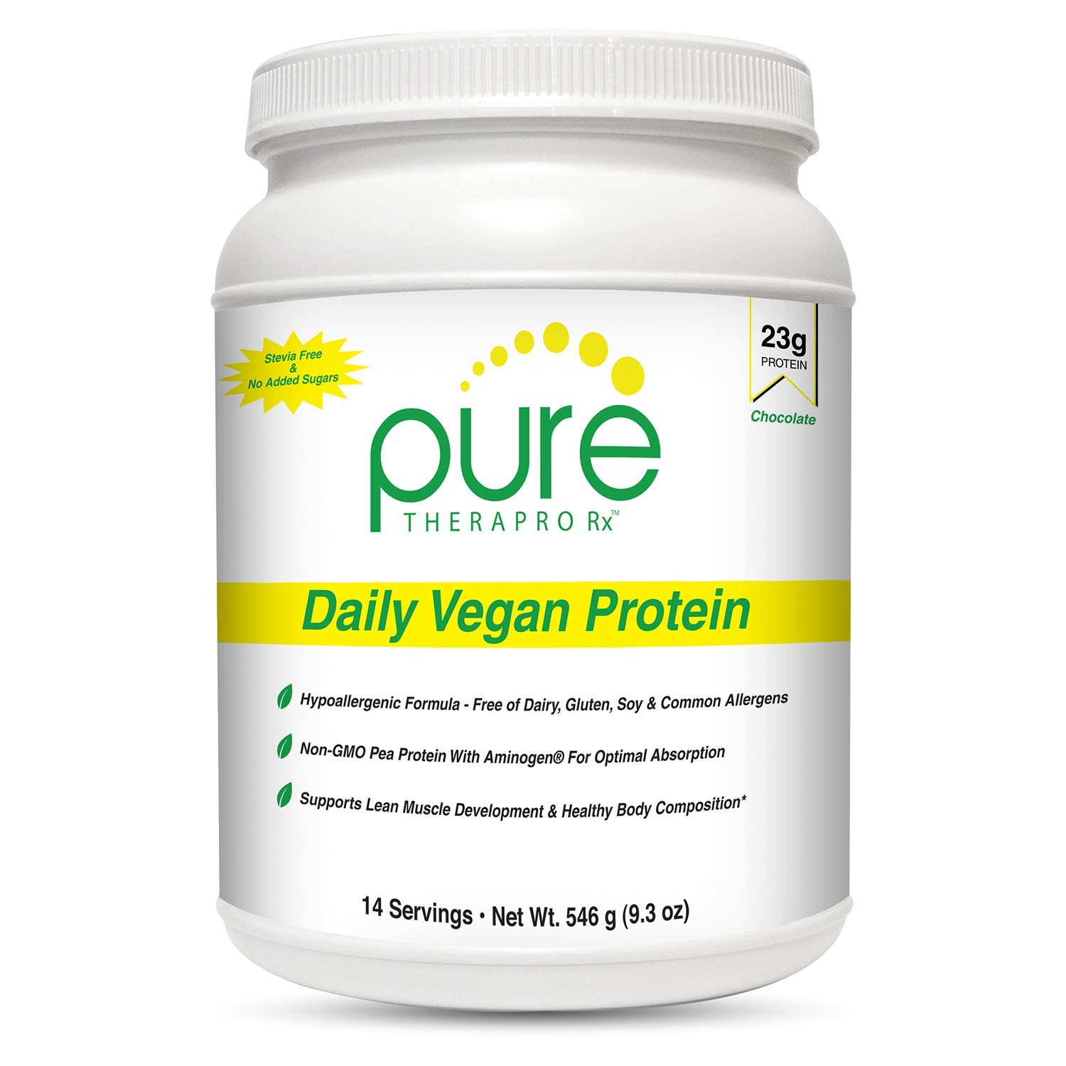"""Daily Vegan Protein""""Chocolate""""- 14 servings   23 grams of Non-Gmo Yellow Pea Protein & Aminogen   Sugar Free - Sweetened with Monk Fruit   7g of Fiber (Inulin from chicory)   Amino Acid Score of 100%"""