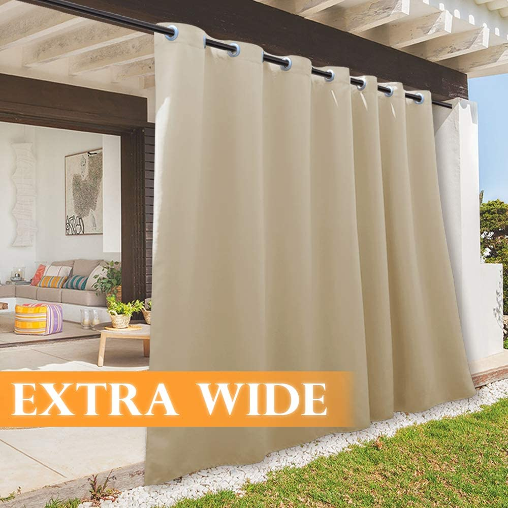 RYB HOME Patio Curtain Outdoor Waterproof Panel, Plus Wide Large Drape for Home Decor/Outside Deck Porch/Pergola/Sun Room, Width 100 x Length 95, 1 Piece, Biscotti Beige