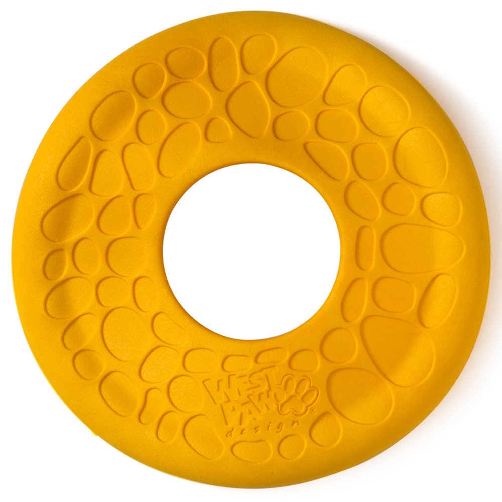 West Paw Zogoflex Air Dash Durable Dog Frisbee Nearly Indestructible Flying Disc Dog Toy, 100% Guaranteed Tough, It Floats!, Made in USA, Large, Dandelion by West Paw Design