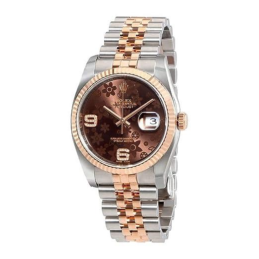 Rolex Oyster Perpetual Datejust Chocolate diseño de flores reloj de mujer, automático acero inoxidable acero y 18 kt Everose Oro Reloj 116231 chfdaj: ...