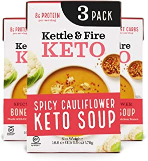 product image for Keto Soup by Kettle and Fire, Spicy Cauliflower, Pack of 3, Paleo Friendly, Gluten Free, Collagen Soup on the Go, 8g of Protein, 16.9 fl oz
