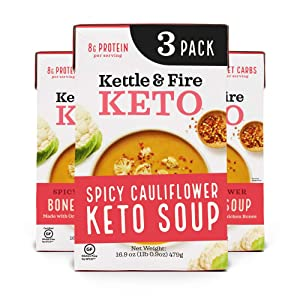 Kettle and Fire Spicy Cauliflower Keto Soup, Keto Friendly, Gluten Free, High in Protein and Collagen, 3 Pack