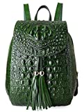 Pifuren Women Fashion Genuine Leather Backpacks Crocodile Bag (E76810, Green)