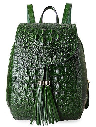 Pifuren Women Fashion Genuine Leather Backpacks Crocodile Bag (E76810, Green) by PIFUREN