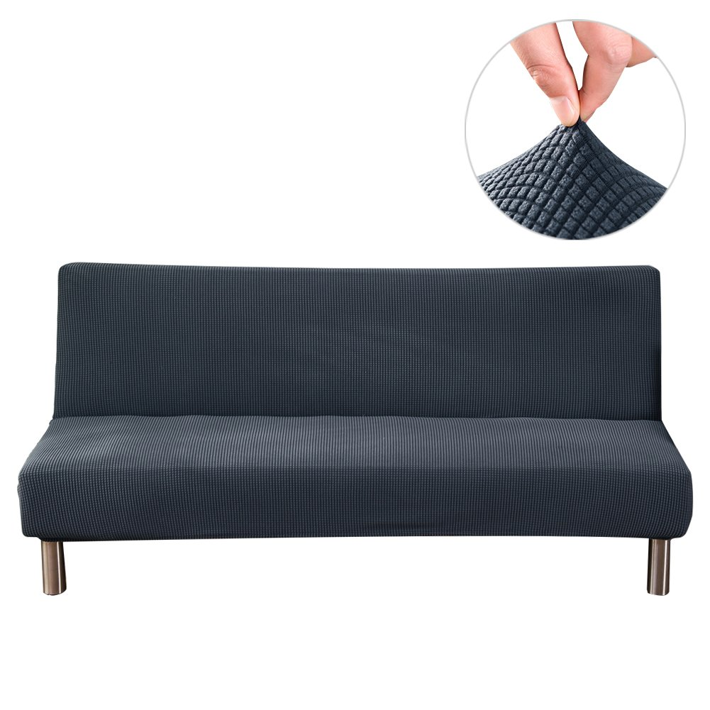 Younar Armless Futon Cover Knitting Thicker Stretch Sofa Bed Slipcover Protector Solid Color Full Folding 80 x 50 in by Younar