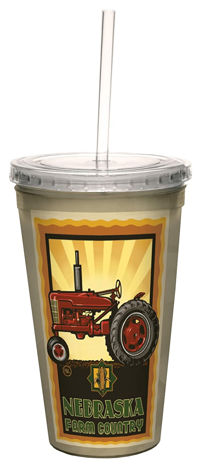 Tree-Free Greetings cc33362 Vintage Nebraska Farm Country Tractor by Paul A. Lanquist Artful Traveler Double-Walled Cool Cup with Straw, 16-Ounce